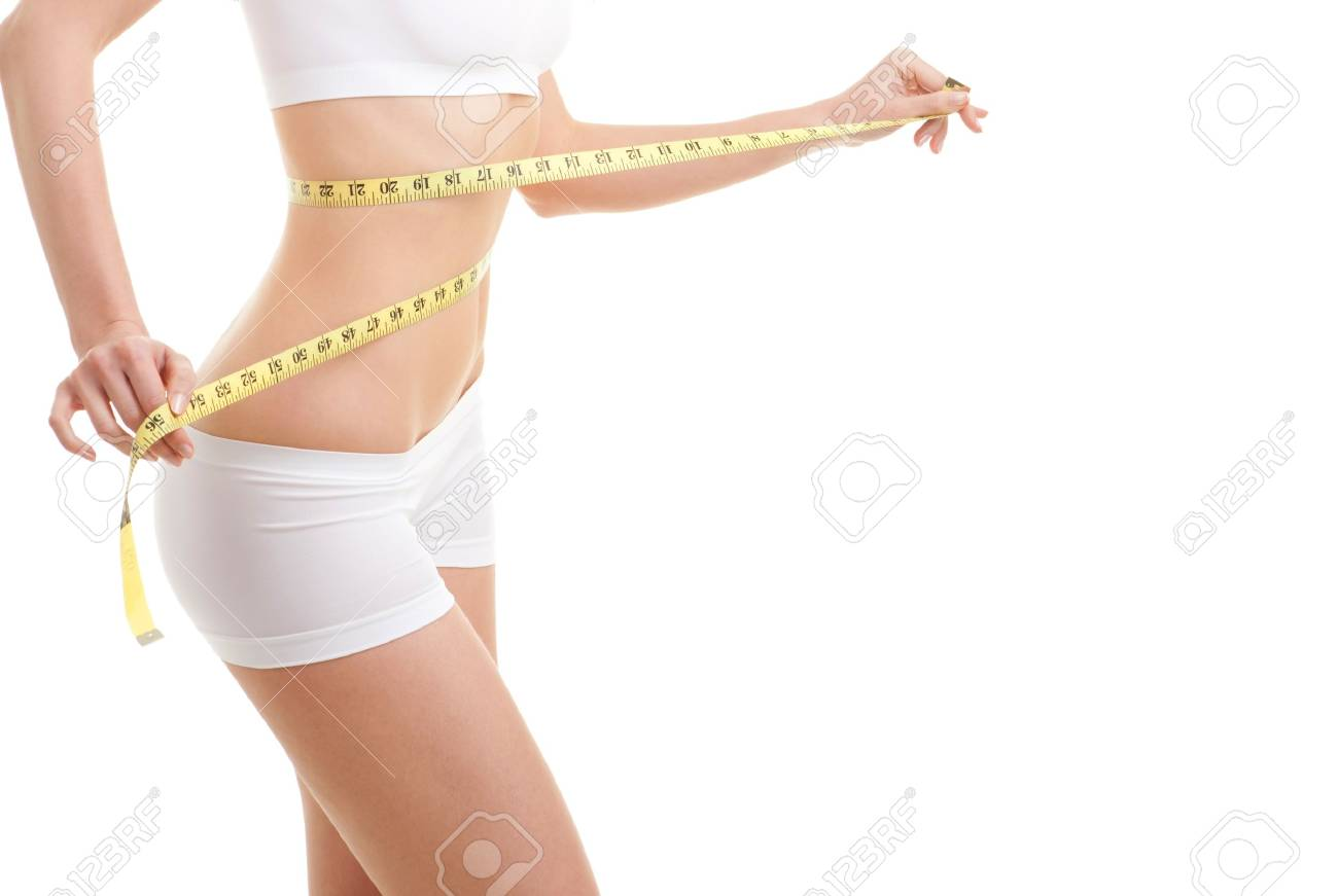 happy young woman with measure tape Stock Photo - 9427030