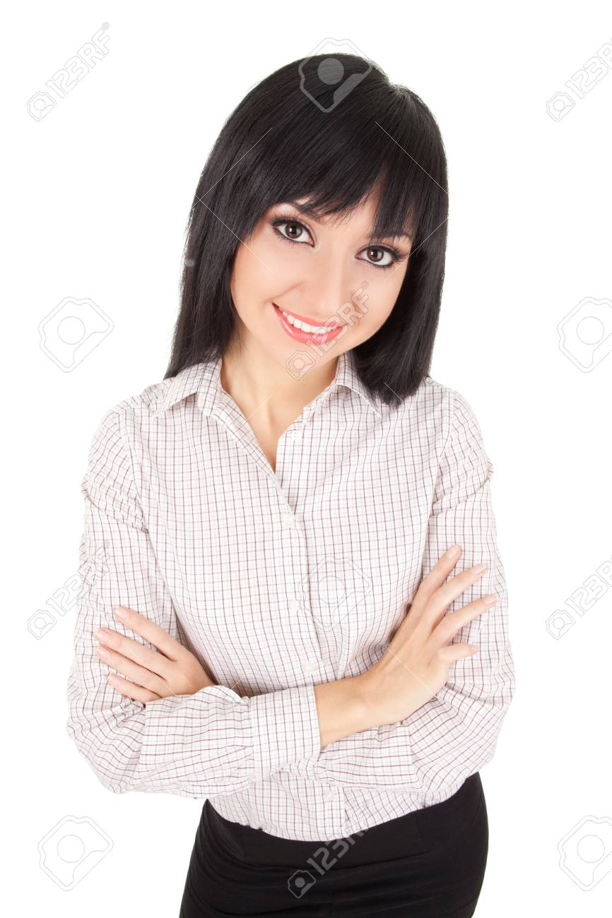 Fun business woman isolated on the white background Stock Photo - 12434557