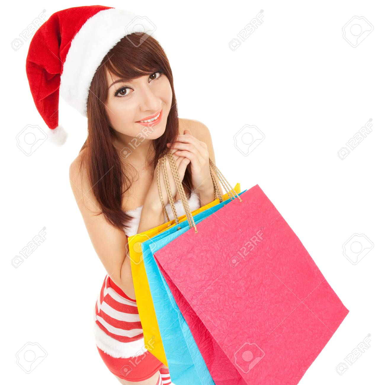 Fun santa woman with packages Stock Photo - 17014744