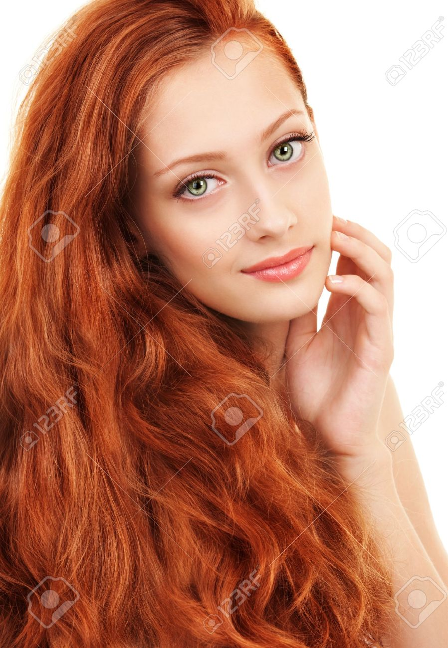 Portrait of a young woman with red hair and green eyes - 18354903