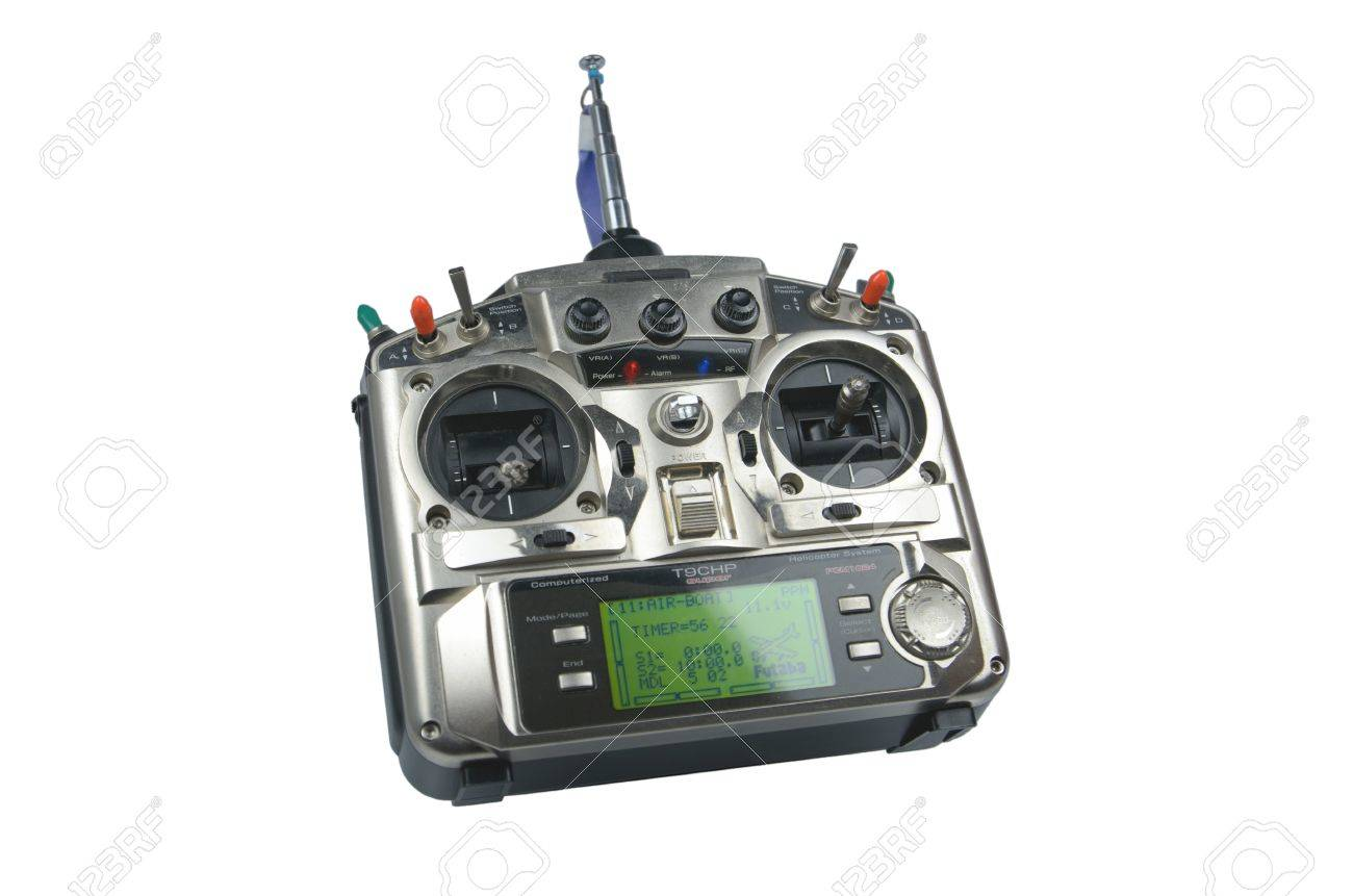 Remote control for helicopers and airplanes isolated on white Stock Photo - 19293846