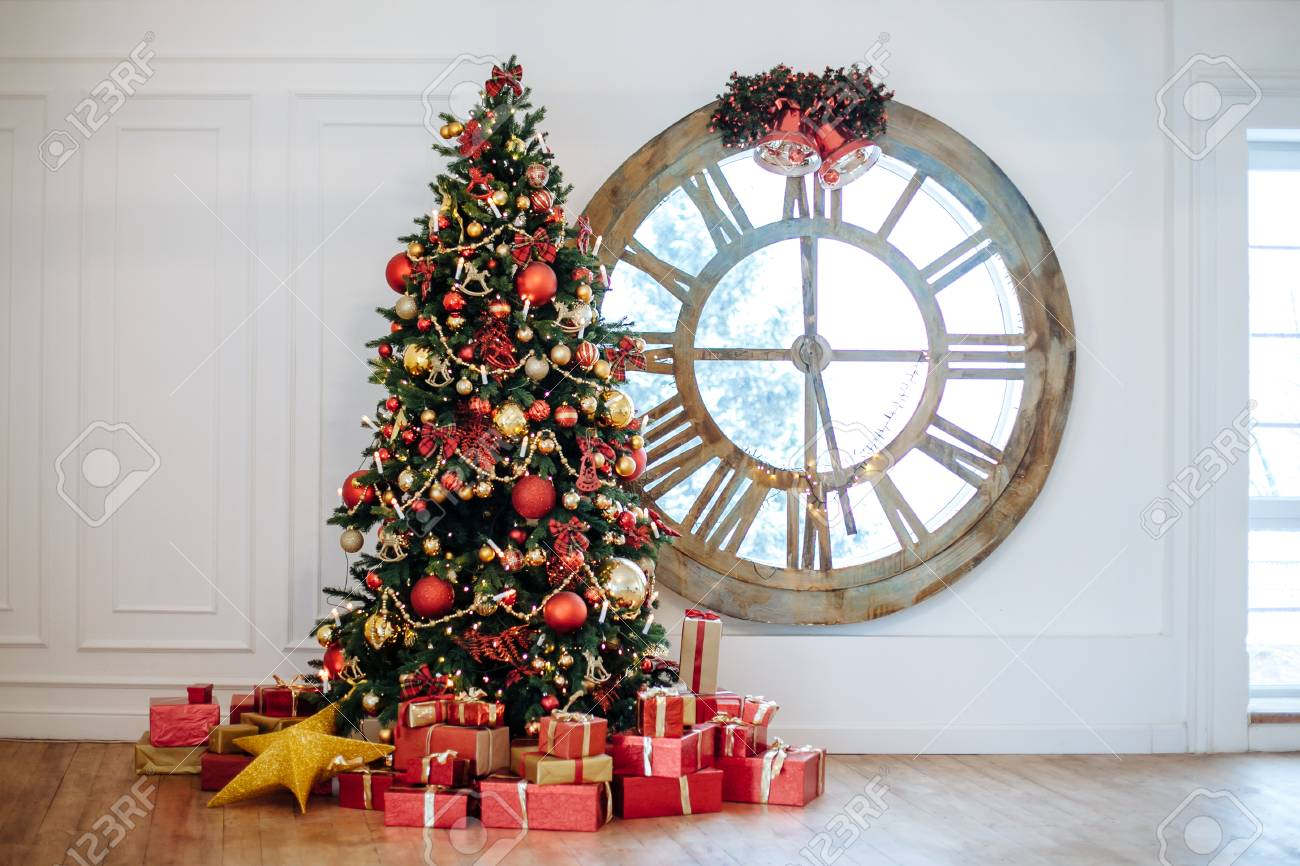 photo beautiful christmas living room with decorated christmas tree ts in front of whate wall new year