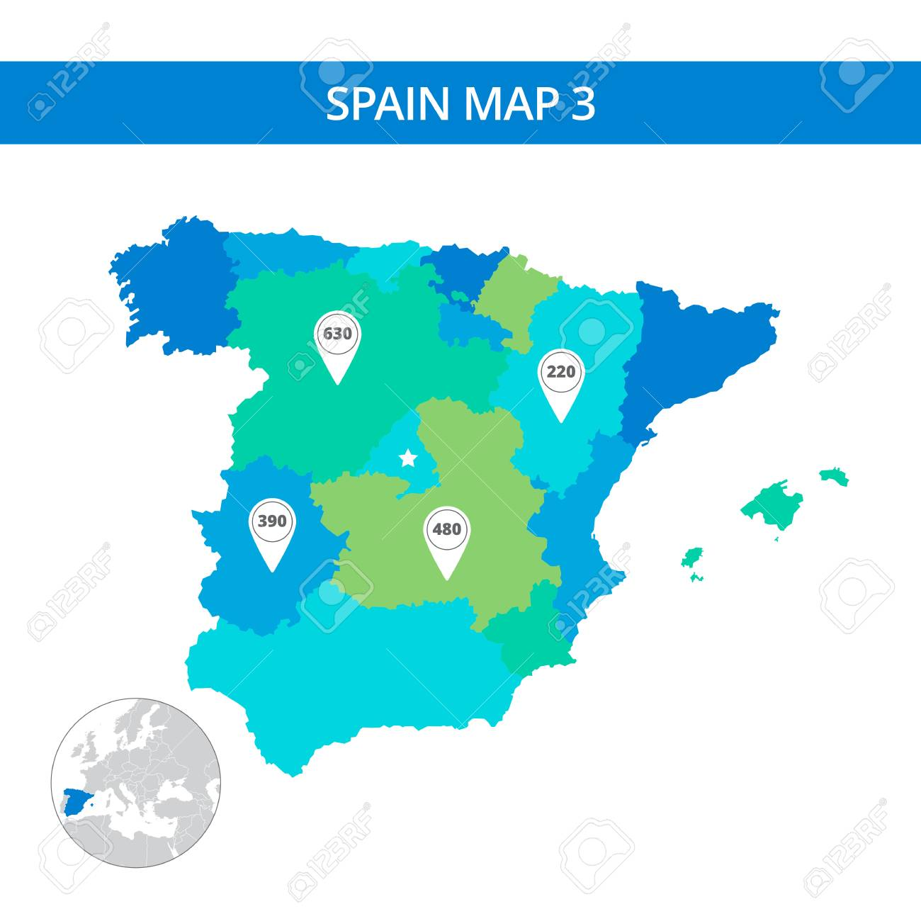Editable template of detailed map of spain with map pointers editable template of detailed map of spain with map pointers and country silhouette on world map gumiabroncs Images