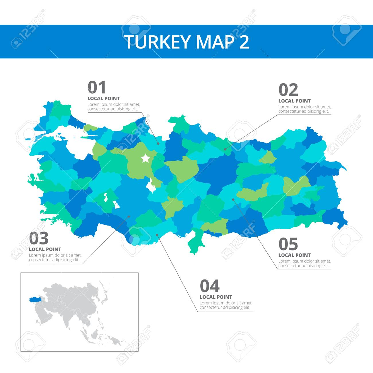 Editable template of detailed map of turkey with information editable template of detailed map of turkey with information marks and country silhouette on world map gumiabroncs Images