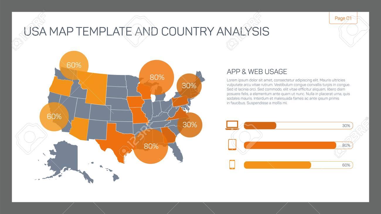 Editierbare Infografik-Vorlage Von USA Karte Vorlage Und ...