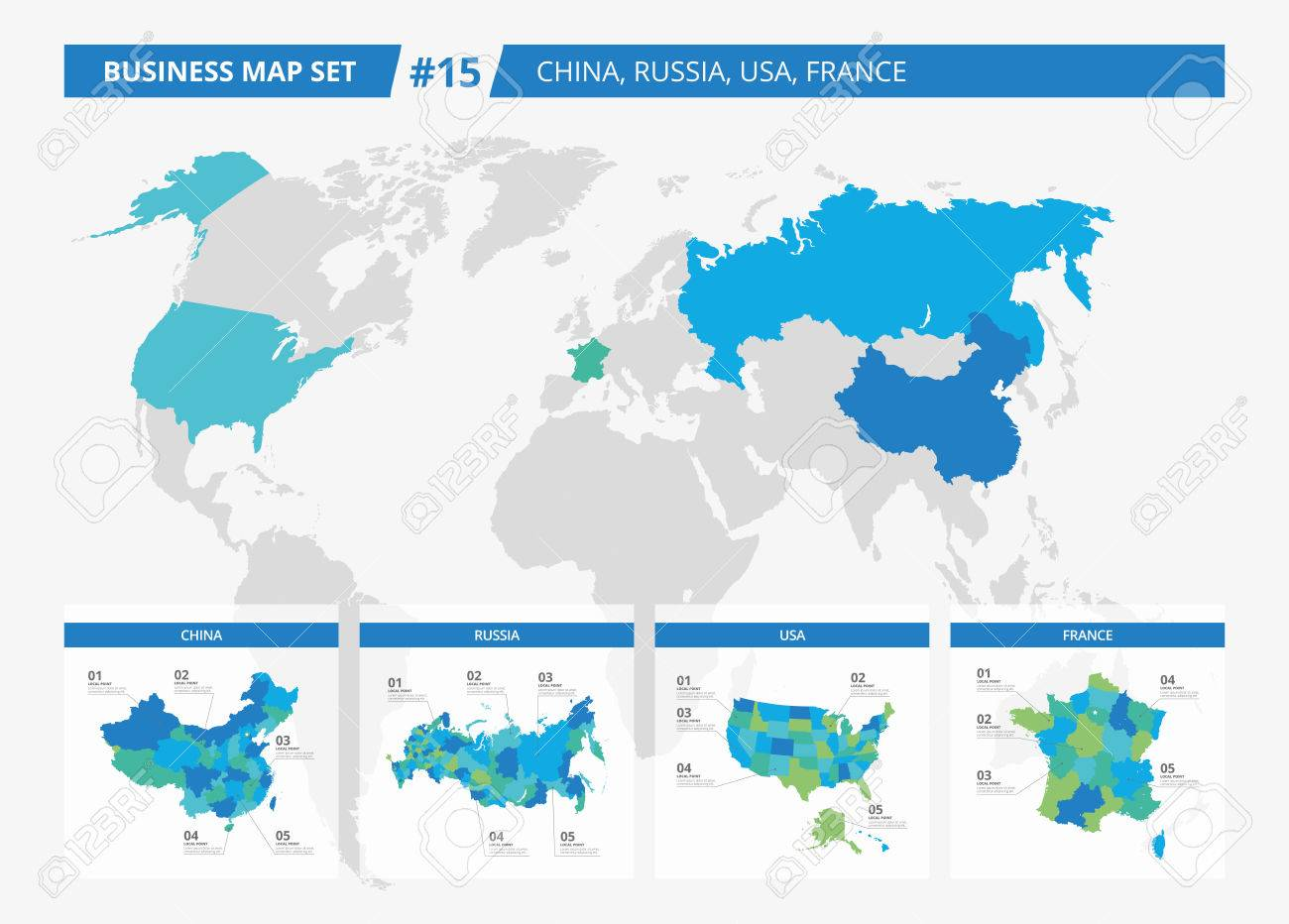 Set Of Editable Detailed Maps Of China, Russia, USA, France And ...