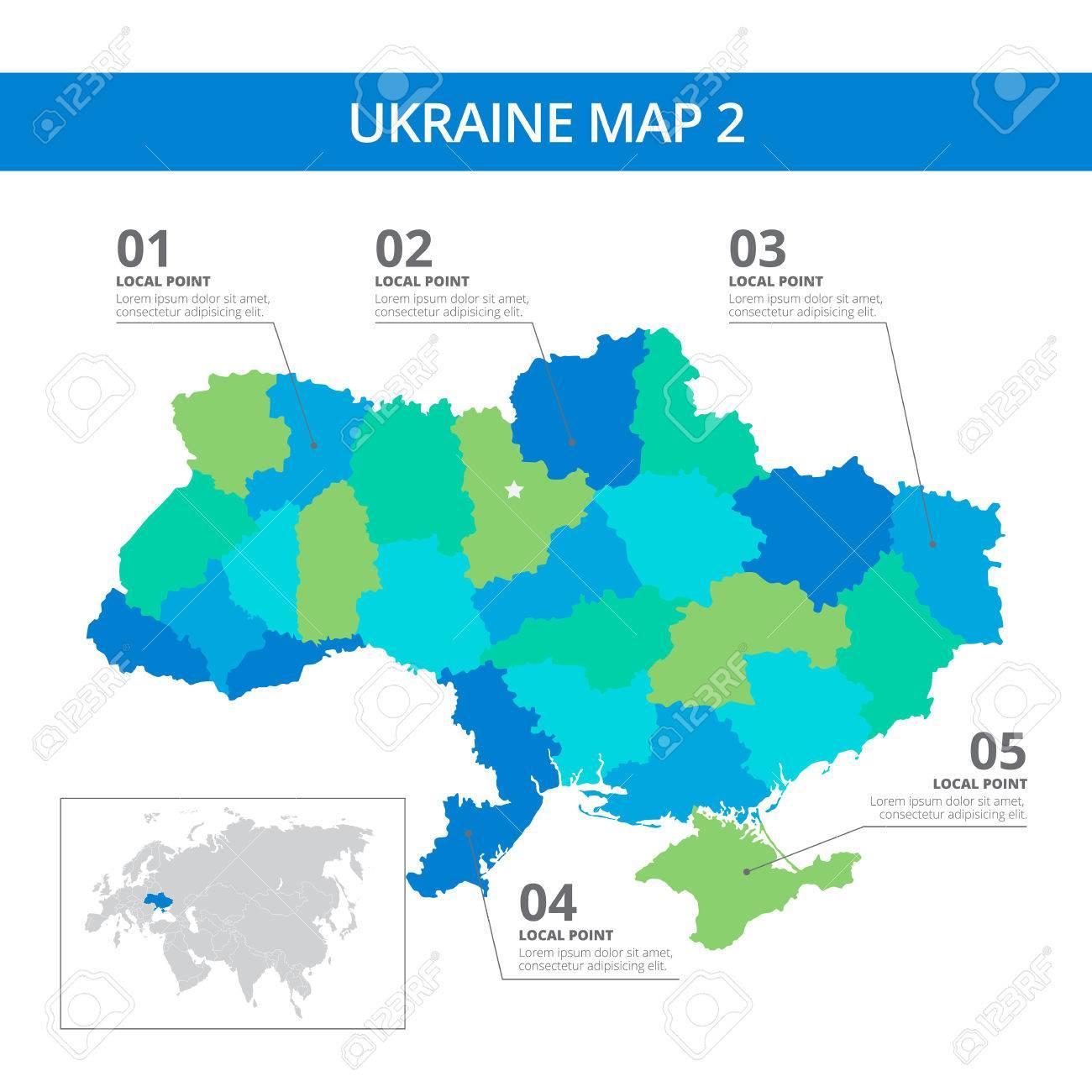 Ukraine Carte Du Monde.Modele Editable De Carte Detaillee De L Ukraine Avec Des Marques D Information Et Pays Silhouette Sur La Carte Du Monde Isole Sur Blanc