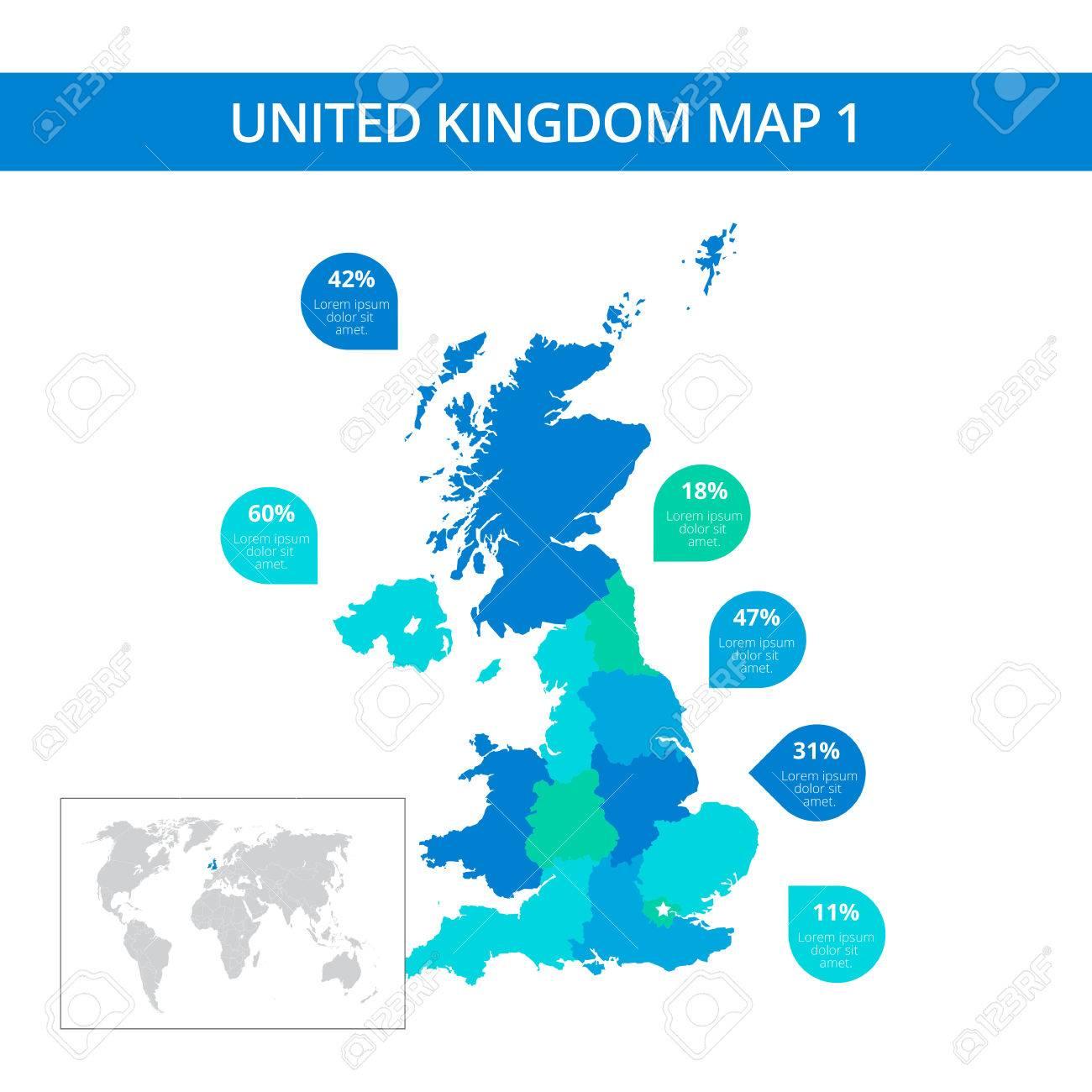 Editierbare Vorlage Von Detaillierten Karte Von Großbritannien Mit ...