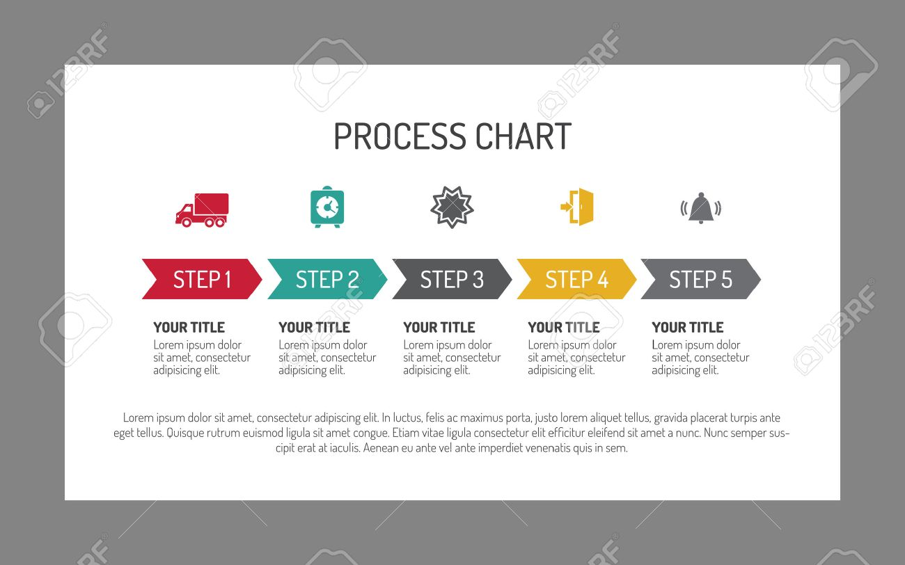 editable infographic template of horizontal five step process
