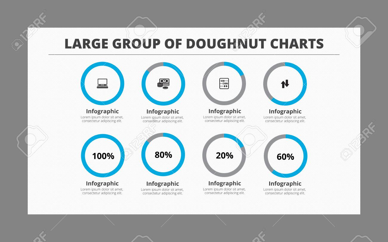 Infographic template of doughnut charts group consists of four infographic template of doughnut charts group consists of four doughnuts with icons and four doughnuts ccuart Image collections