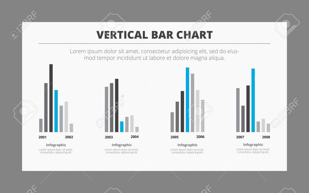 infographic template of four vertical bar charts with titles