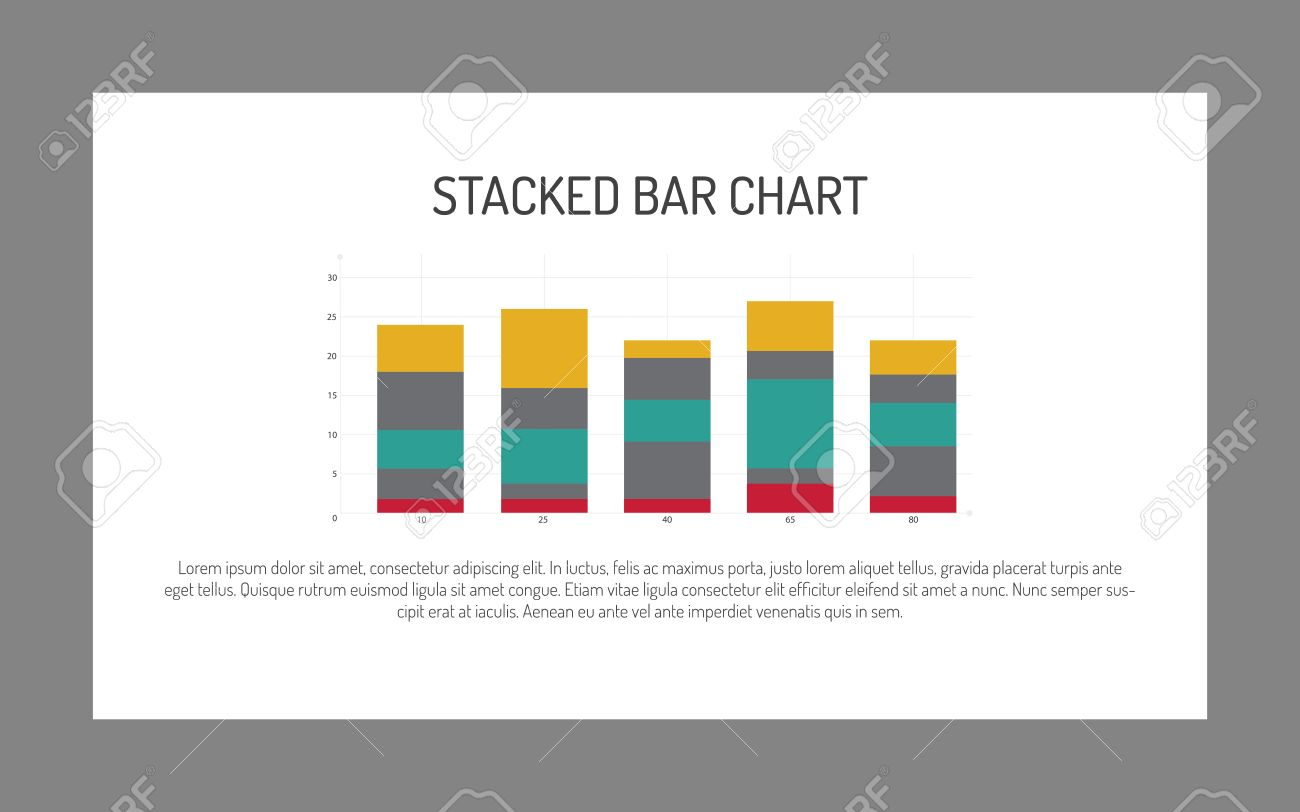 Editable Infographic Template Of Stacked Bar Chart, Multicolored, Sample  Text Stock Vector   51164072