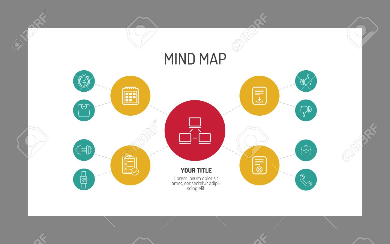 Simple Mind Map Template With Different Icons At Every Level ...