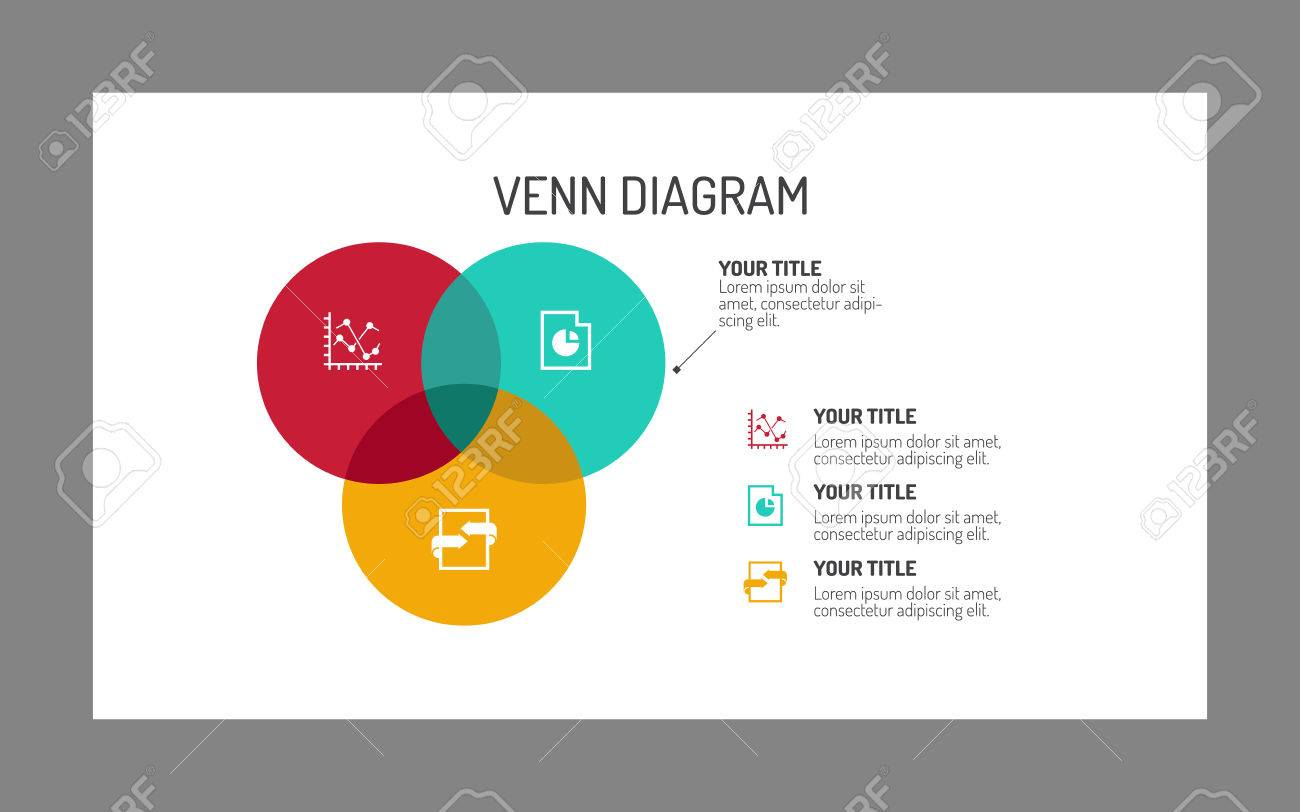 editable template of three section venn diagram, multicolored