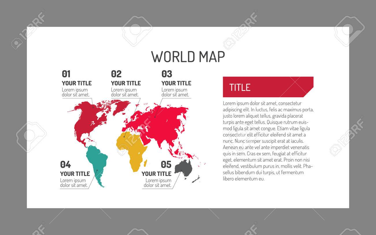 editable world map template with number captions for each part of world with sample text