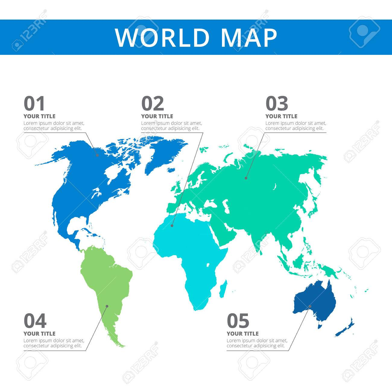 Editable template of detailed world map with continents silhouettes editable template of detailed world map with continents silhouettes and information marks blue and green gumiabroncs Image collections