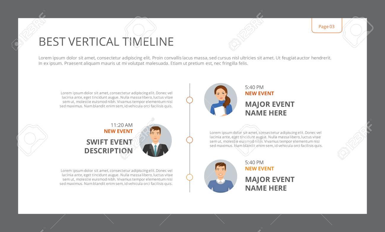 Template of presentation slide representing best vertical timeline