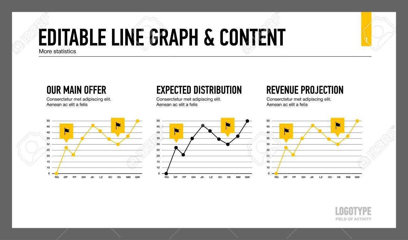 Editable template of presentation slide representing line graph