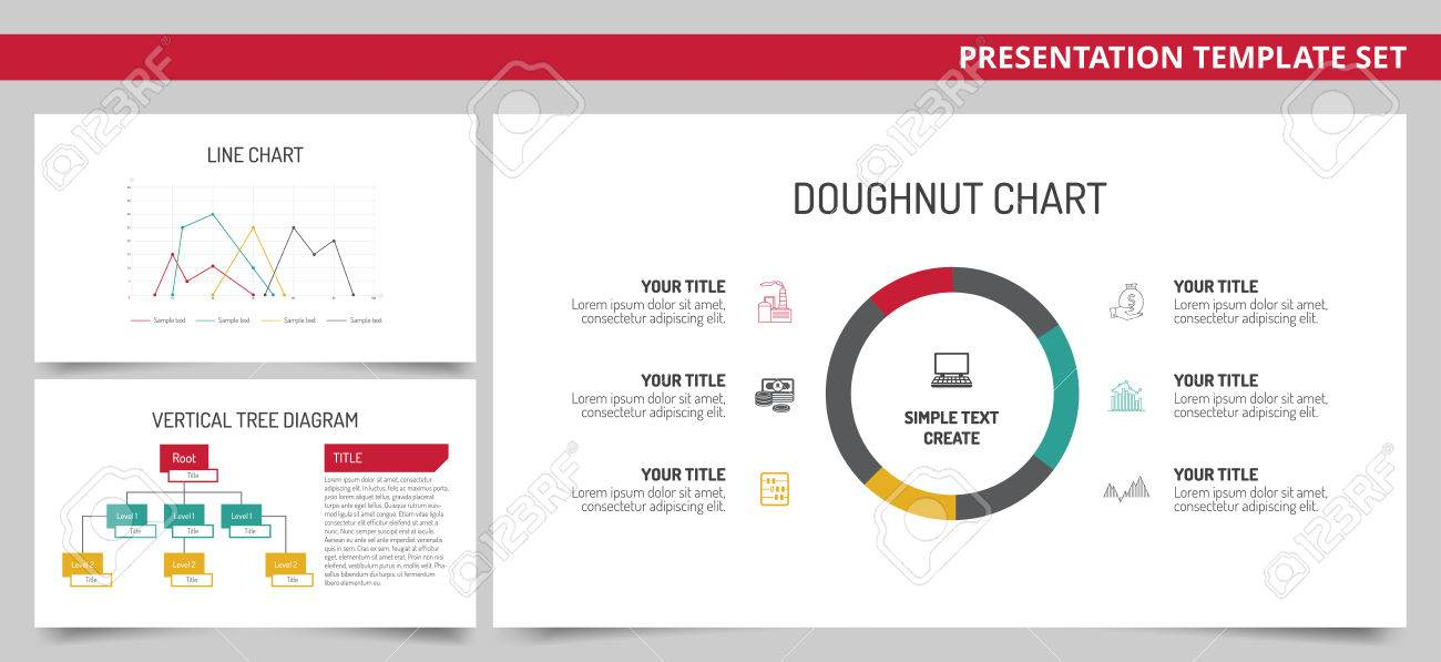 Set of vector infographic presentation templates with doughnut set of vector infographic presentation templates with doughnut chart line chart vertical tree diagram ccuart Gallery