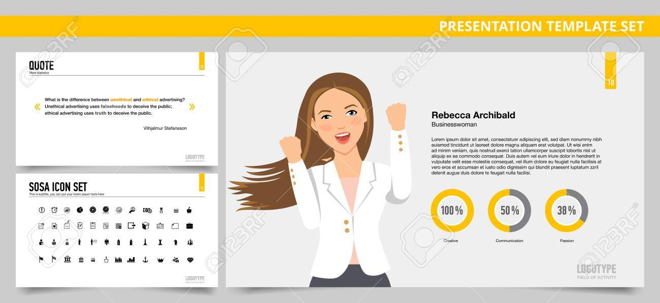 set of vector infographic presentation templates with quote slide