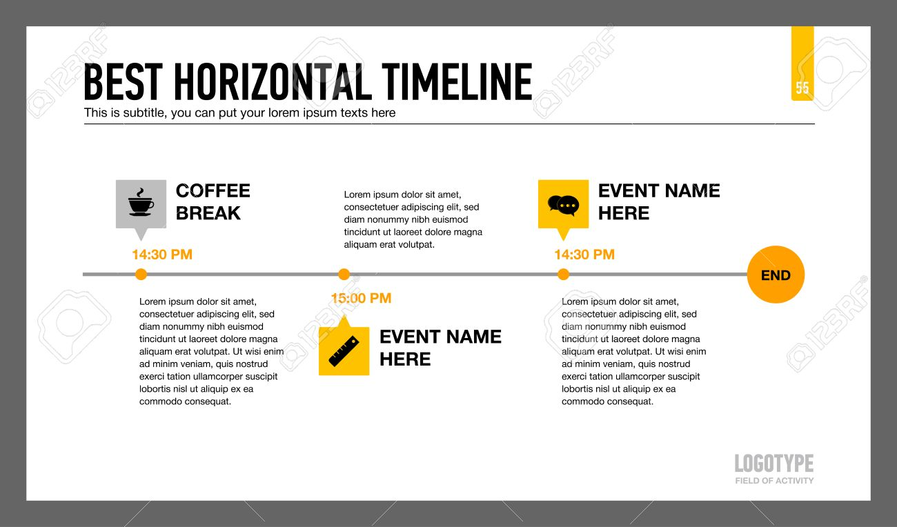 Editable infographic template of horizontal timeline with icons,