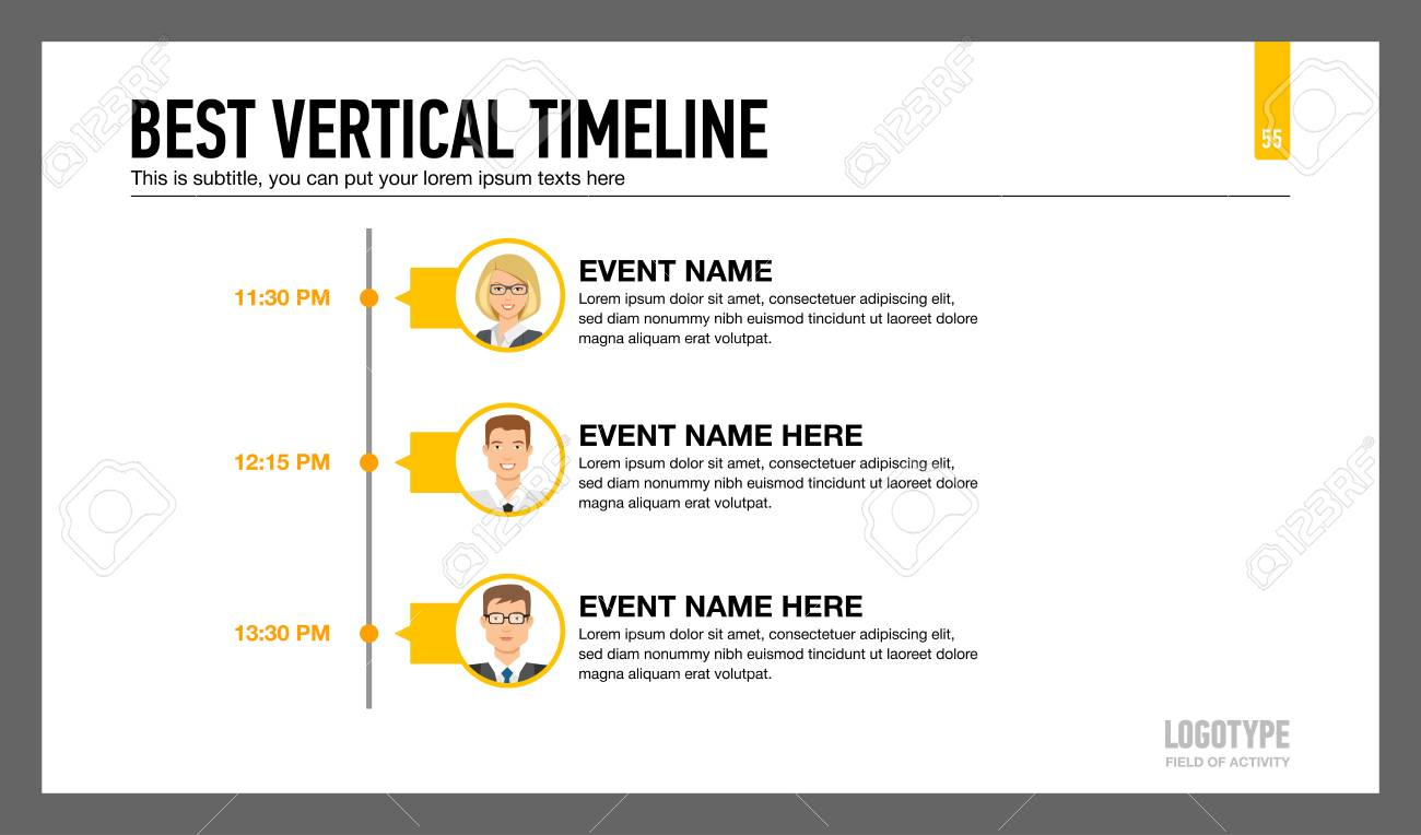 editable infographic template of vertical timeline with male