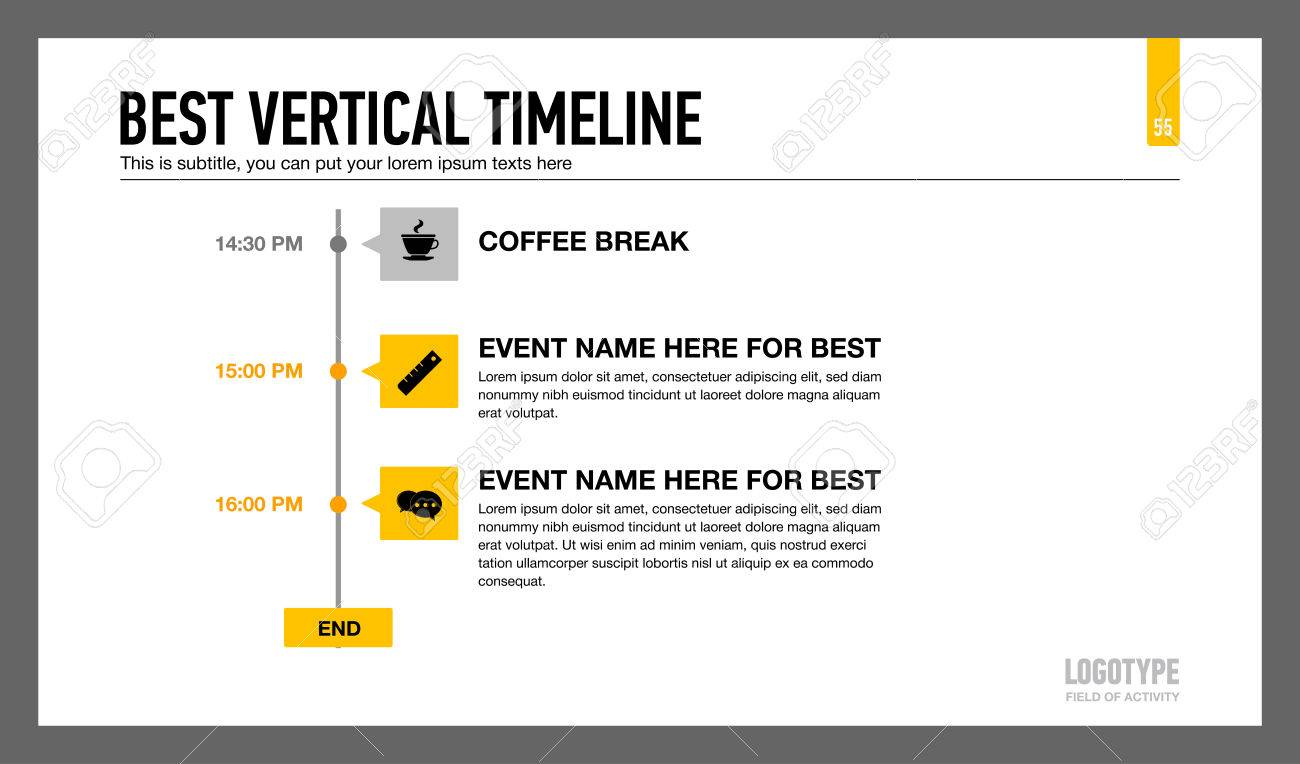 editable infographic template of vertical timeline with icons