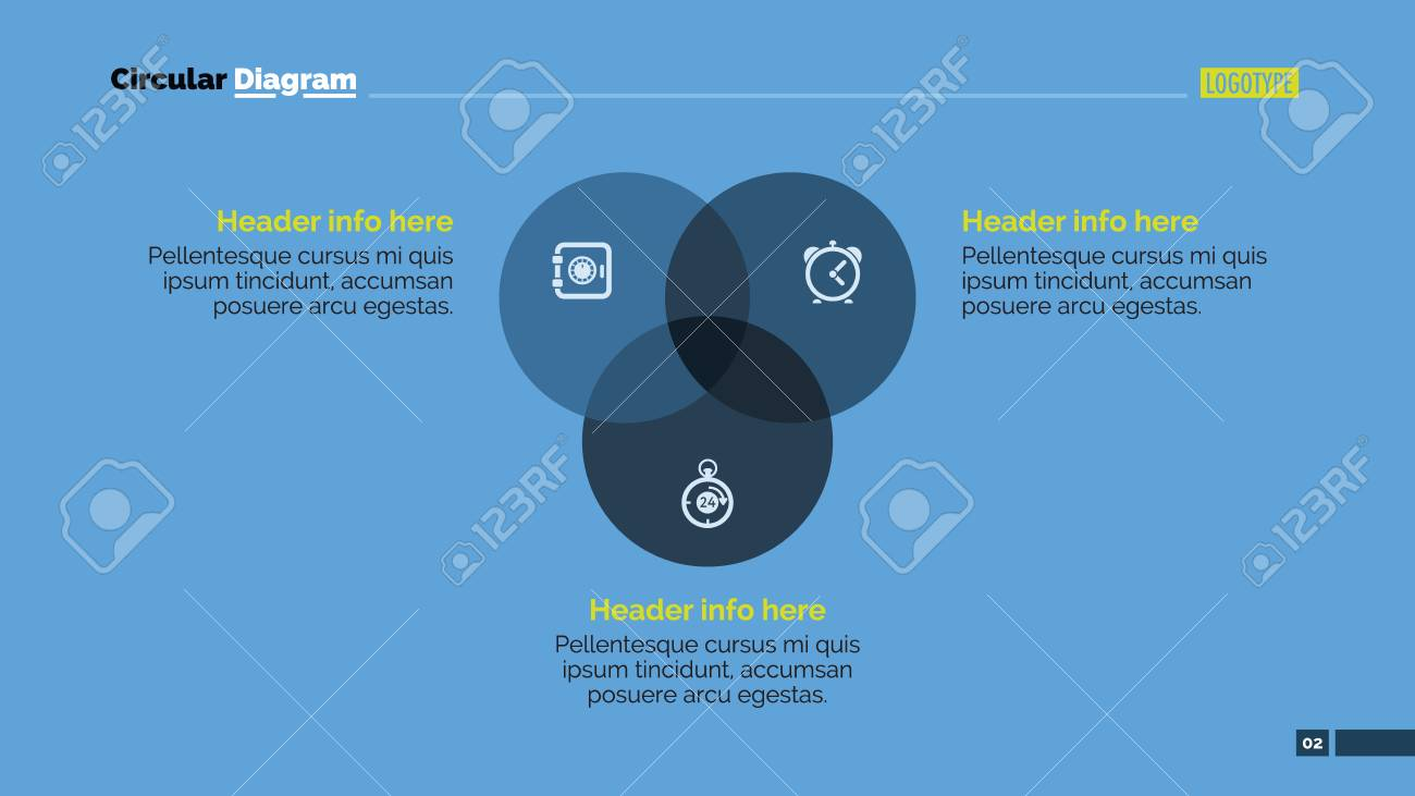 Editable presentation slide template of circular diagram with editable presentation slide template of circular diagram with three circles headers and sample text stock ccuart Choice Image
