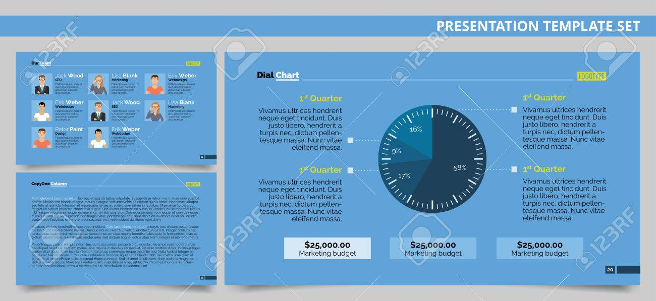 Editable Presentation Template Set Representing Dial Chart, Company ...