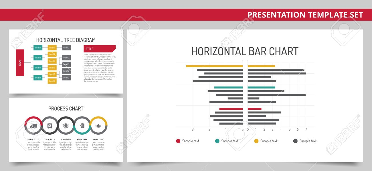 Editable Presentation Template Set Horizontal Bar Chart Tree