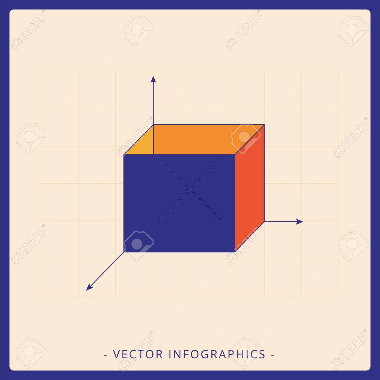 Multicolored Template Of 3d Cube Diagram Representing Abell Business Framework For Strategic Planning Stock Vector