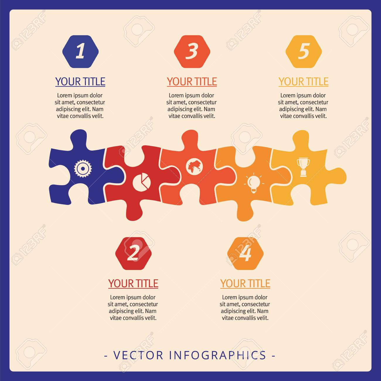 editable infographic template of flowchart including five puzzle