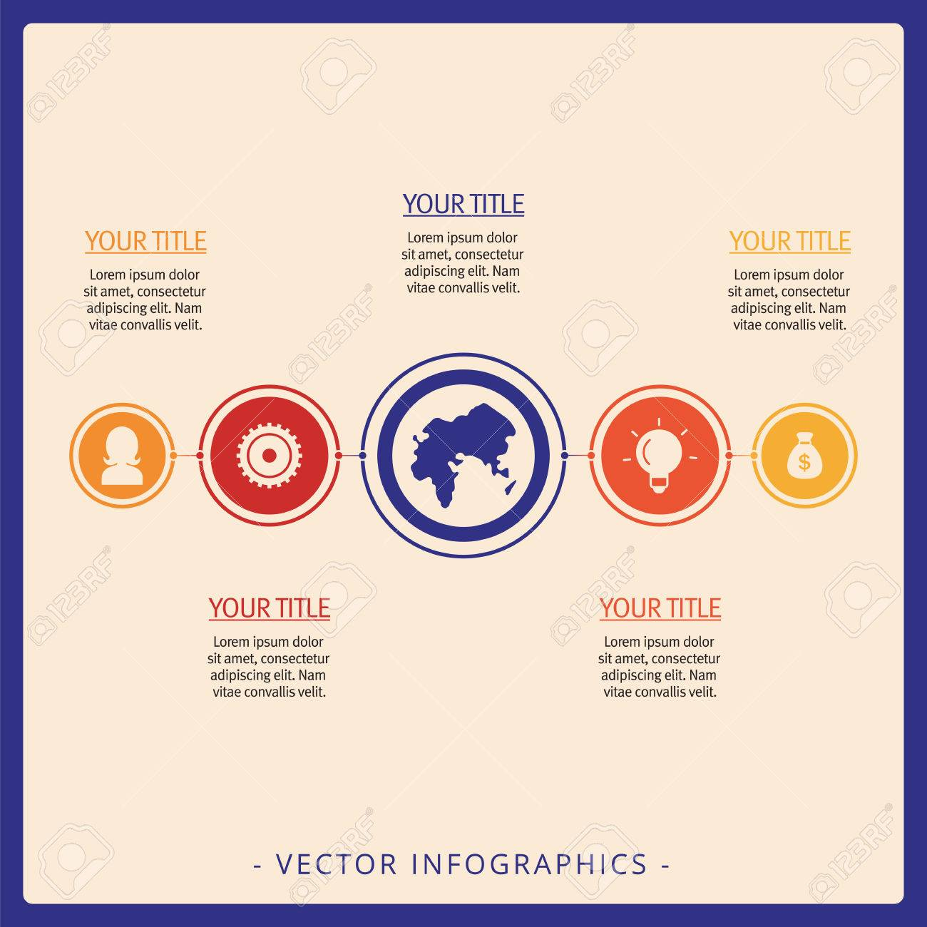 Editable Infographic Template Of Simple Process Chart With Icons Titles And Sample Text Multicolored