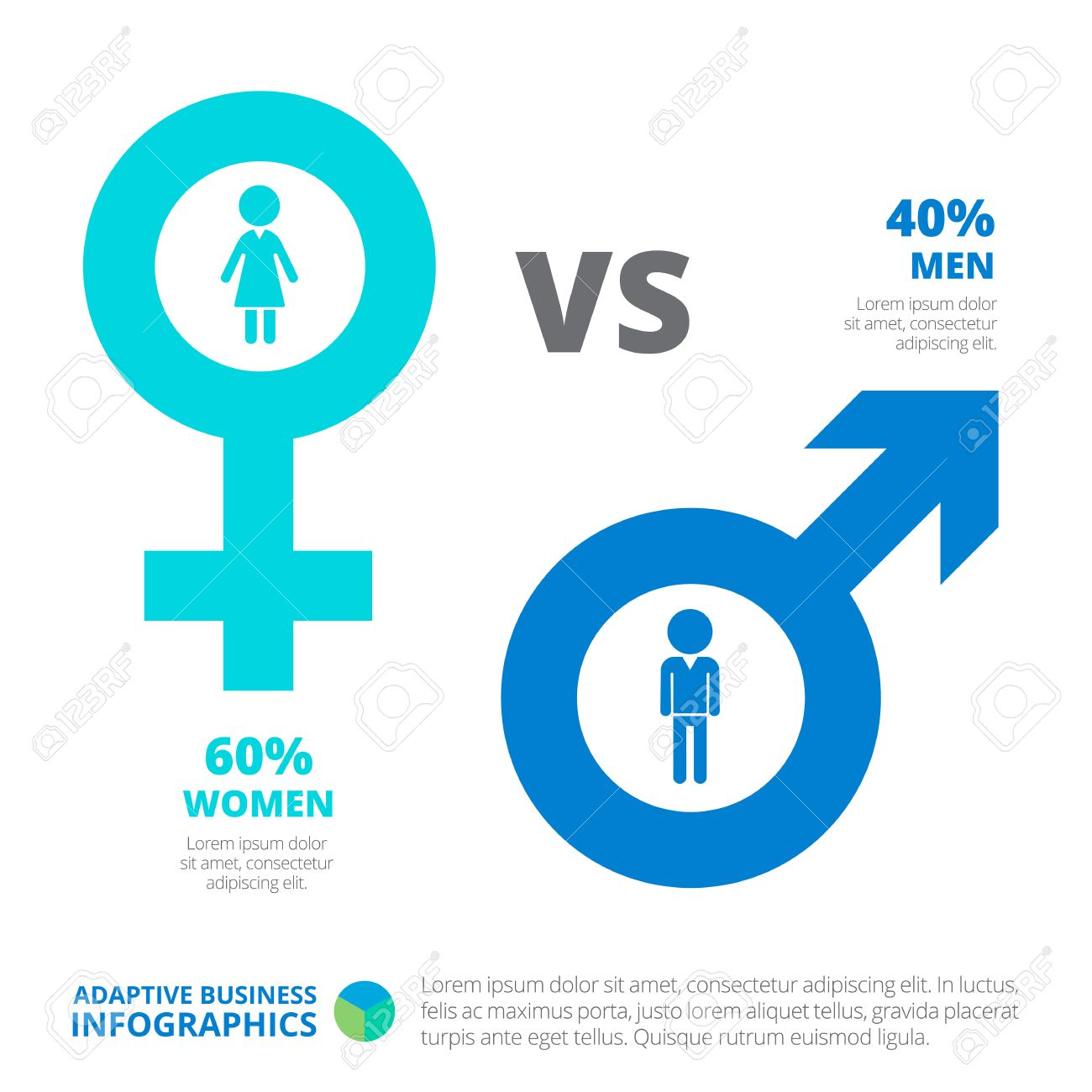 Men versus women editable infographic template with male and men versus women editable infographic template with male and female gender symbols icons percent buycottarizona Choice Image