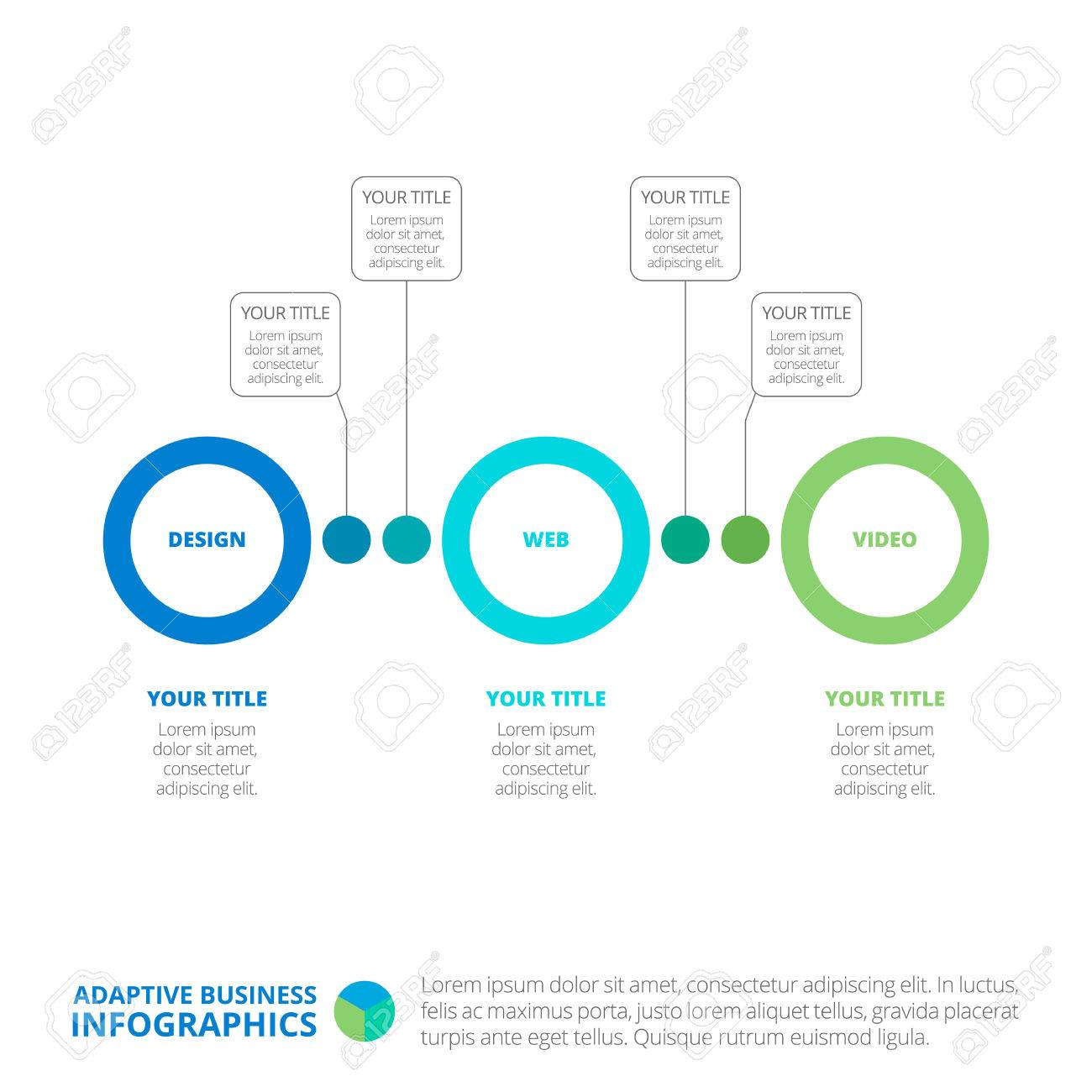 Editable Template Of Simple Circle Process Chart With Blocks Titles And Sample Text Multicolored