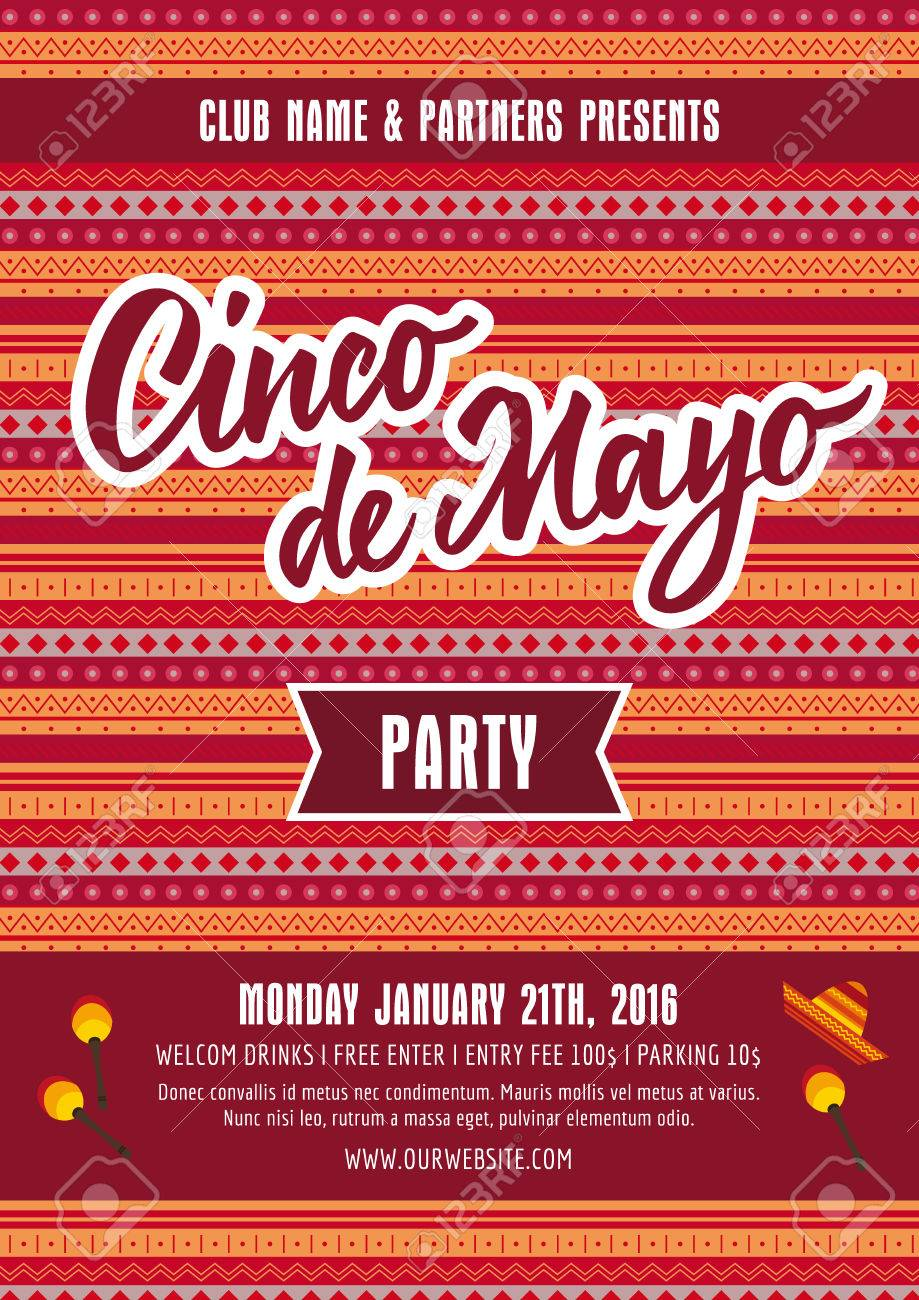 cinco de mayo party poster template with sample text on mexican