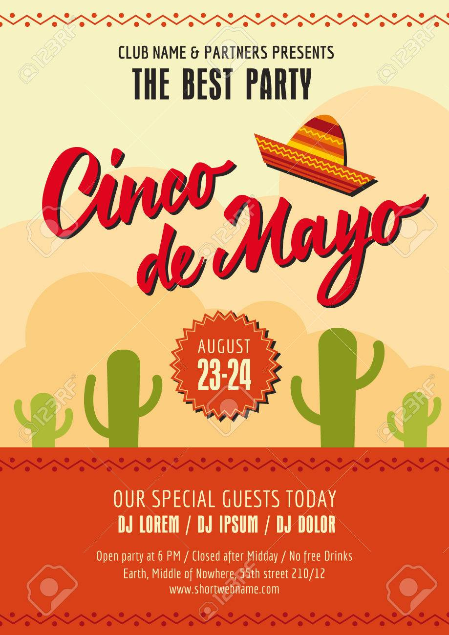 cinco de mayo poster template with sample text on background