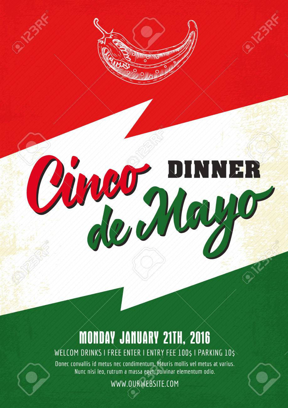 dinner cinco de mayo poster template with sample text on background