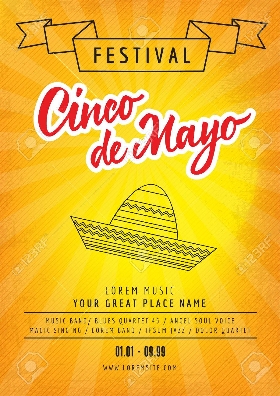 festival cinco de mayo poster template with sample text isolated