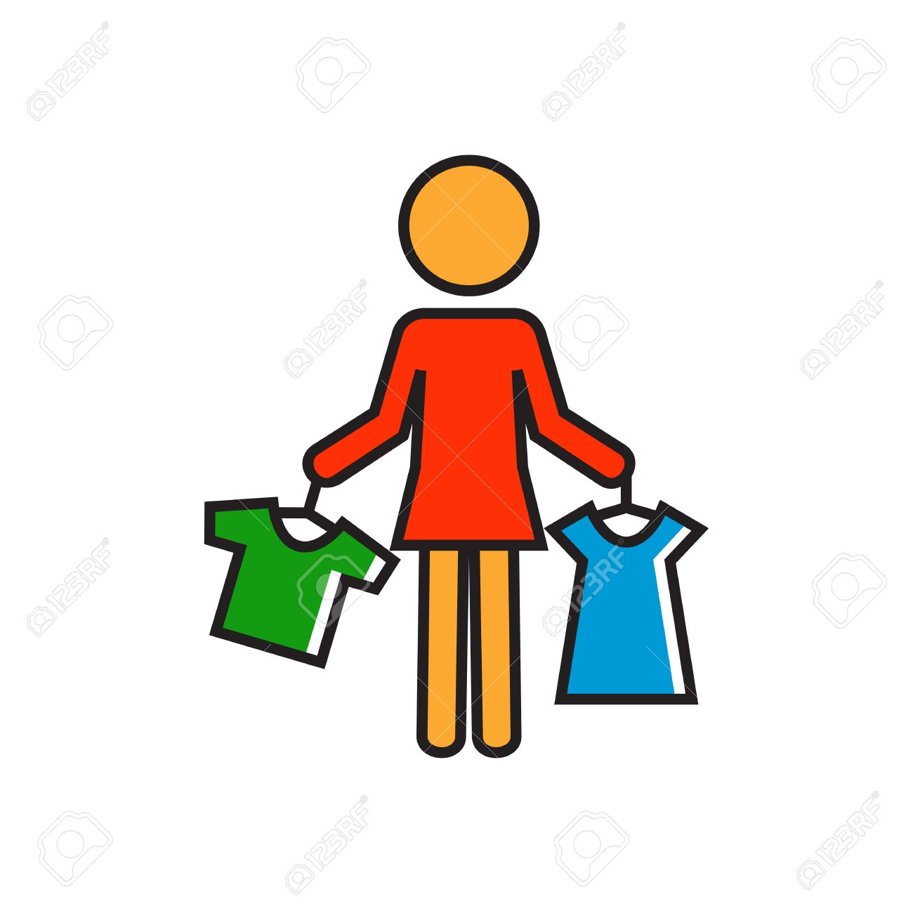 w holding clothes on hangers shopping choice shop assistant vector w holding clothes on hangers shopping choice shop assistant shopping concept can be used for topics like shopping clothes work