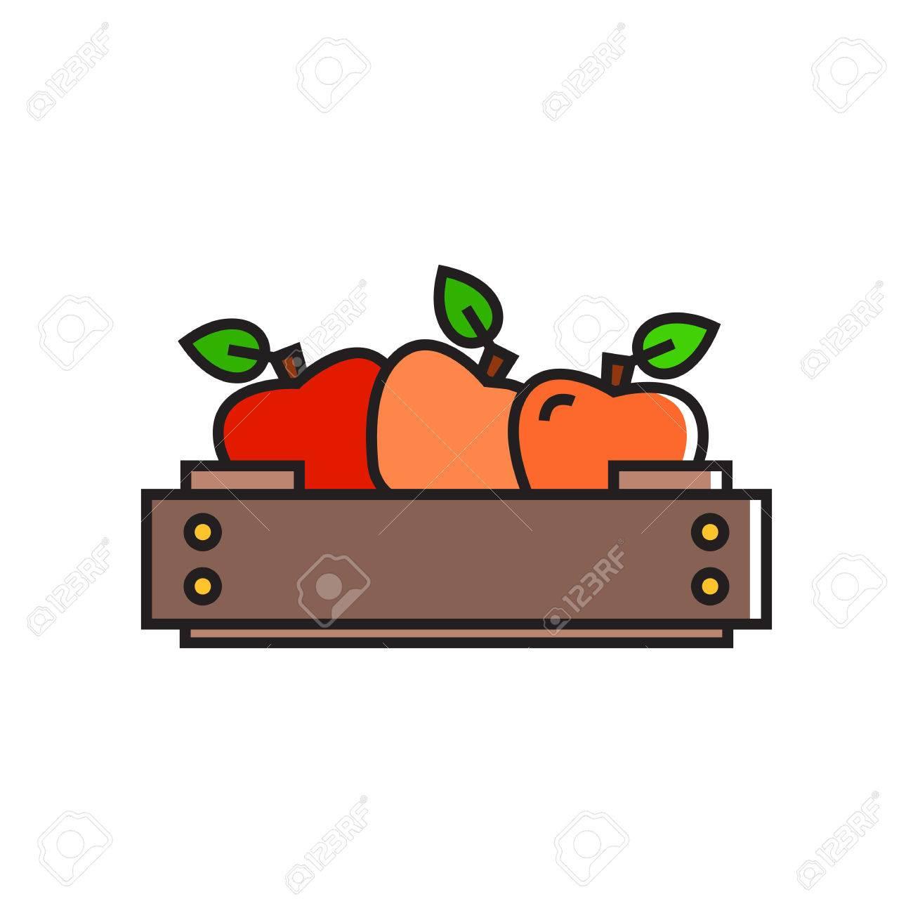 Ilustracin De Manzanas En Caja De Madera Fruta Comida Sana