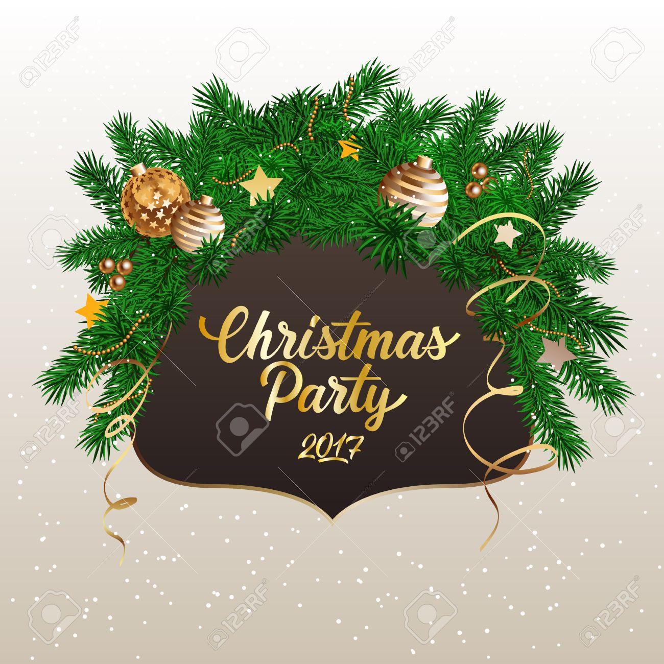 Fiesta De Navidad 2017 Letras Invitación De La Navidad Con Ramas De Abeto Decorado Texto Escrito A Mano La Caligrafía Para Carteles Volantes Y