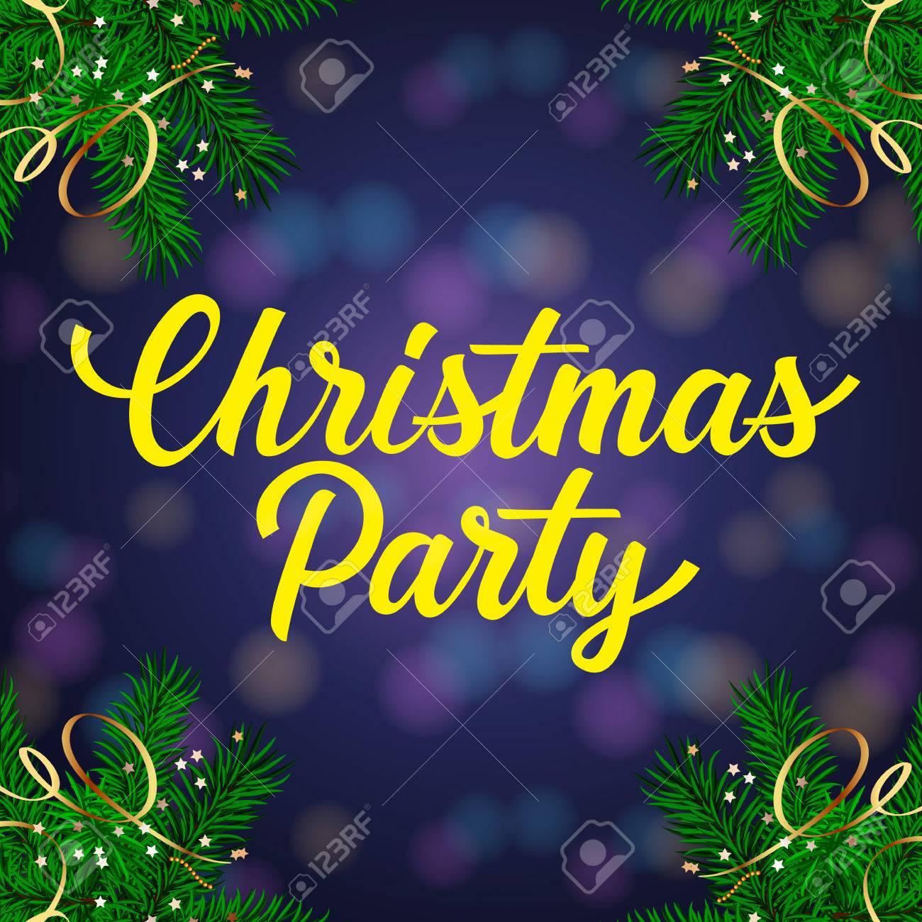 Letras De La Fiesta De Navidad Invitación De La Navidad Con Ramas De Abeto Decorado Texto Escrito A Mano La Caligrafía Para Invitaciones
