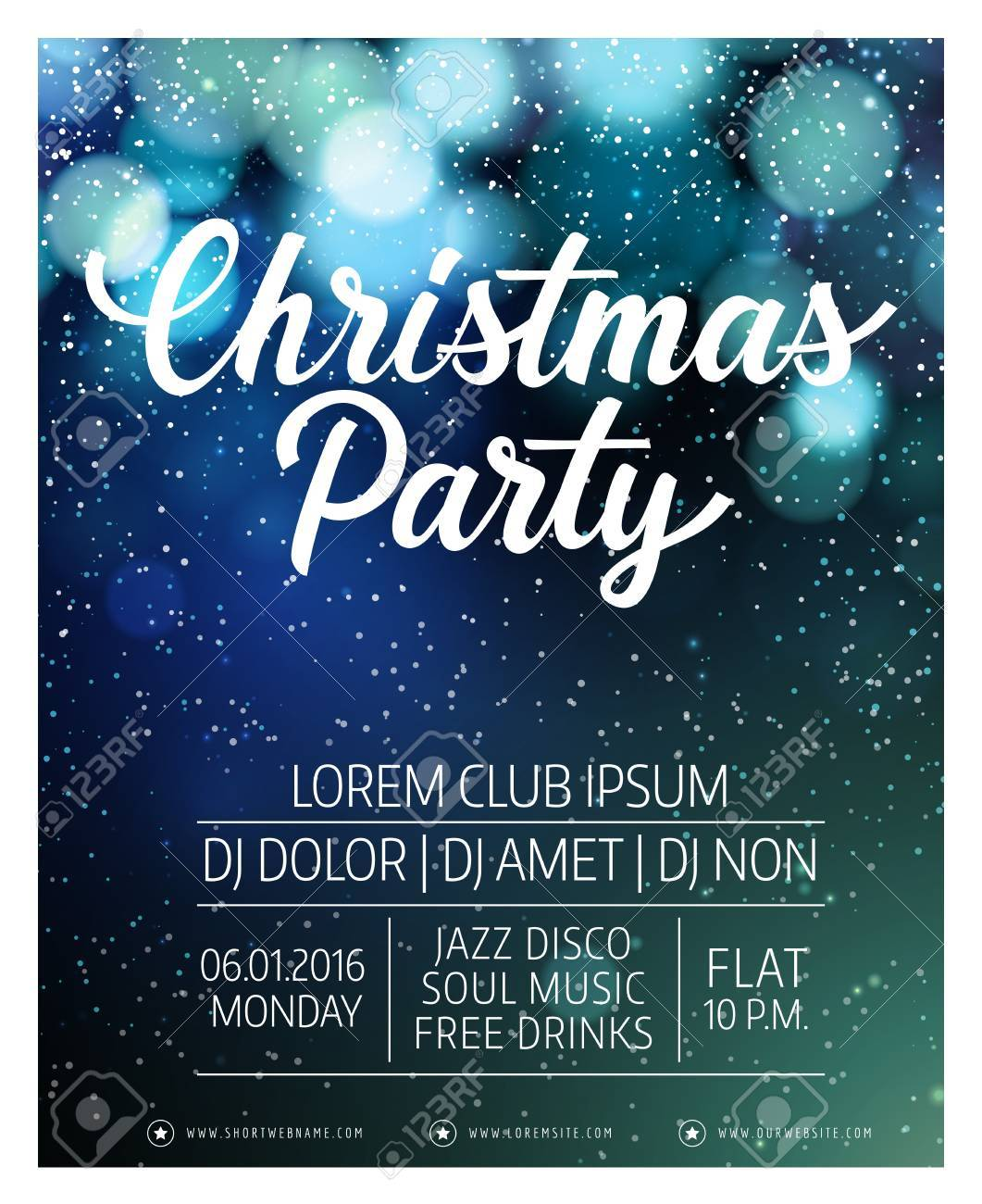 Christmas Invitations.Christmas Party Lettering Christmas Invitation With Snow Blurry