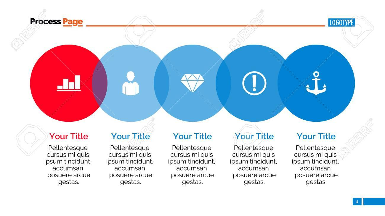 Five Step Process Chart Element Of Graph Presentation Diagram
