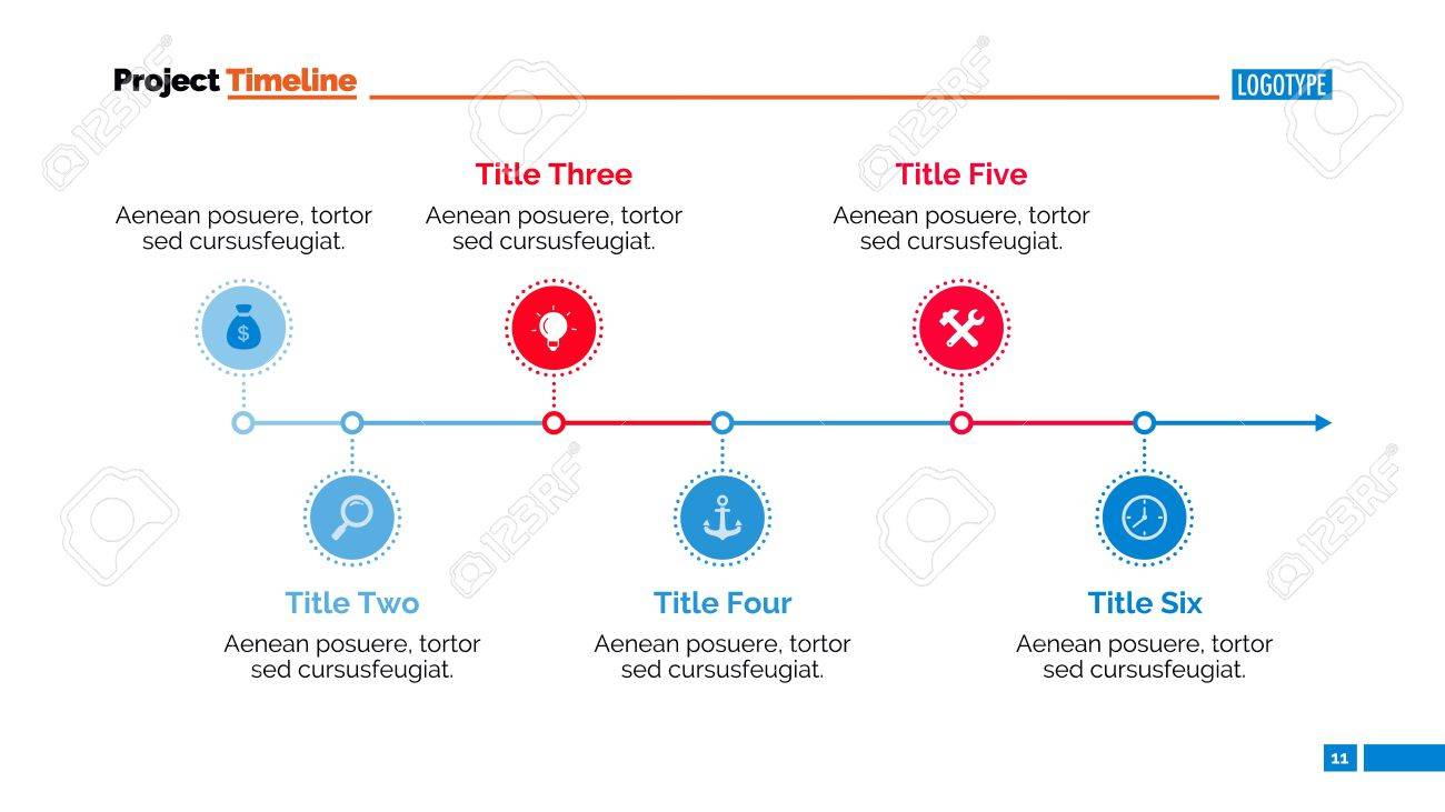 Timeline Chart. Abstract Element Of Presentation, Graph, Diagram ...