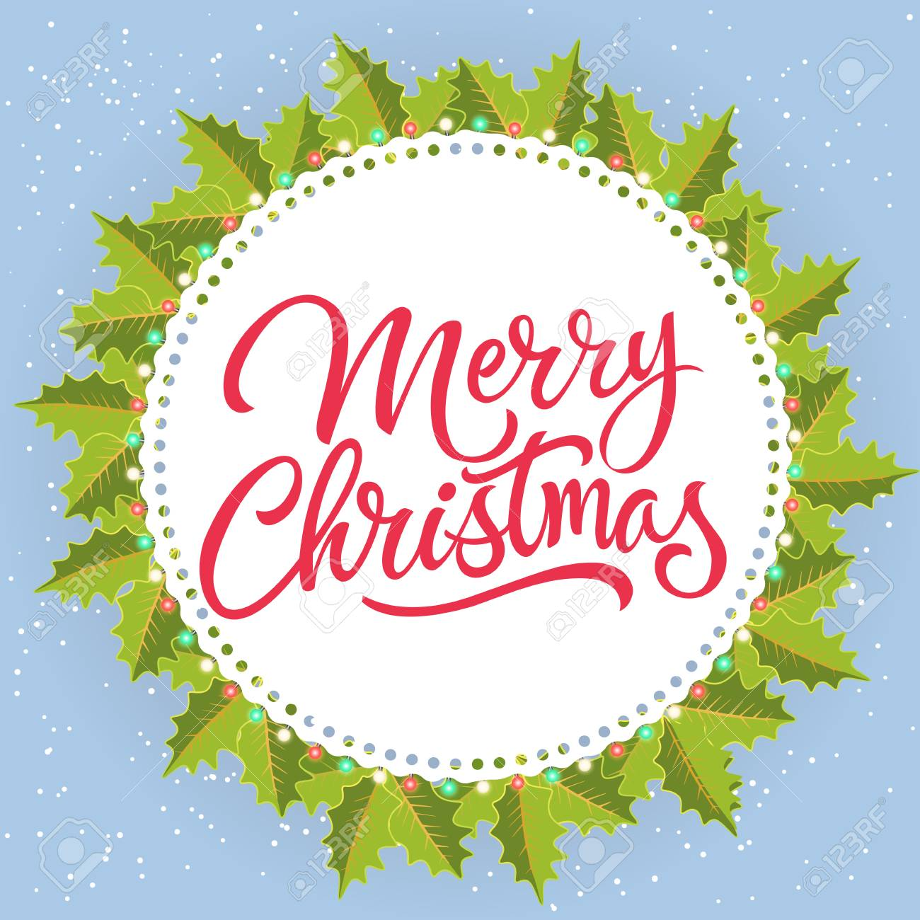 Merry Christmas Lettering In Circle. Christmas Greeting Card ...