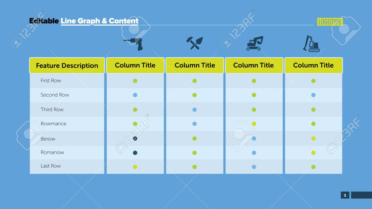 Four Features Table Process Chart Business Data Column Option