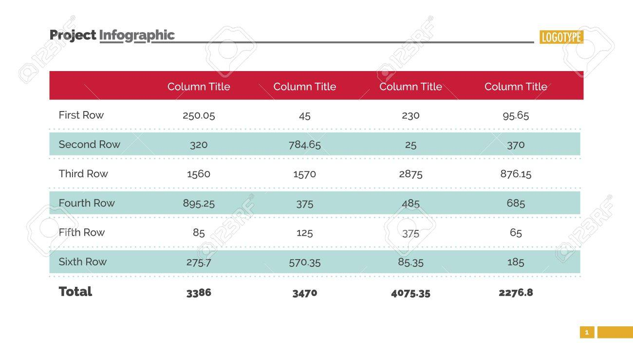 table chart slide template business data graph diagram design
