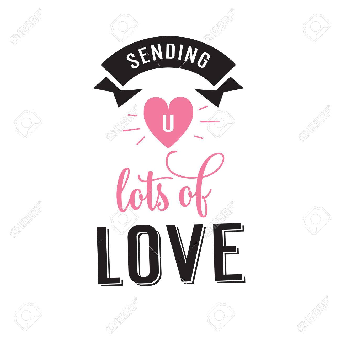 Romantic Valentines Card With Letter U In Shining Pink